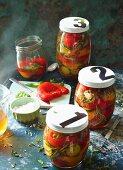 Pickled peppers in balsamic pickling liquor
