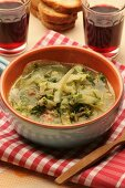 Fennels soup with sausage, Sardinia, Italy