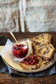 Fruitcake with cornel cherry jam