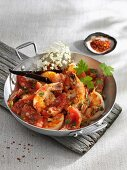 Prawns with tomatoes and elderflowers
