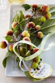 Ornamental apples with a name tag and a bow on a plate as table decoration