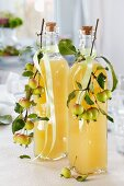 Bottles of apple juice decorated with sprigs of ornamental apples