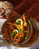 Prawn curry with mint and pilau rice (India)