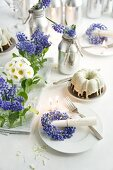 A table laid with grape hyacinth wreaths, Bellis daisies and a Bundt cake