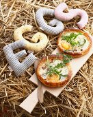 Still life of fresh pancetta tarts with rocket garnish
