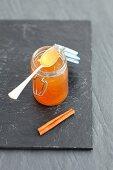 Beer jam with cinnamon in a flip-top jar