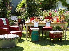 Set table and various seating in summer garden
