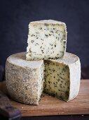 Round Georgian muchli cheese with herbs.