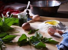 Ingredients for stinging nettle cake