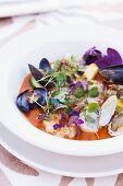Assorted Shellfish in a Tomato Broth with Micro Greens