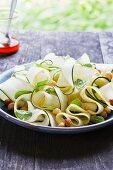 Green and Yellow Zucchini Ribbons