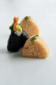 Assorted onigiri (spiced rice balls, Japan), some with nori