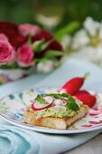 Crostino topped with radish leaf cream and radishes