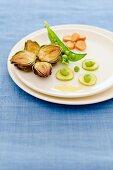 An appetiser platter of spring vegetables
