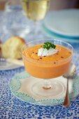 Tomato gazpacho with cream cheese