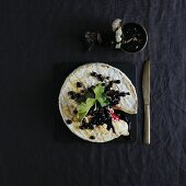 Brie with blackcurrants