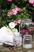 Homemade rose bath salts