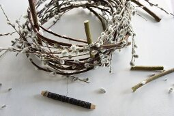 Making a wreath of pussy willow