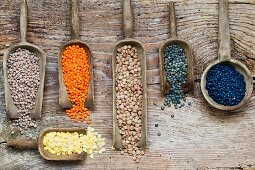 Various types of lentils