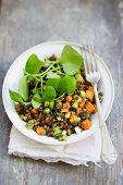 Lentil salad with purslane