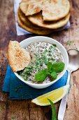 Lentil soup with lemon and mint