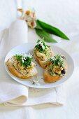 Bruschetta with wild garlic