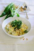 Risotto with wild garlic and pine nuts