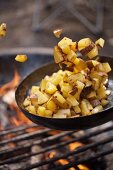 Frying Potatoes over a Campfire