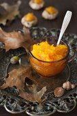 Pumpkin Jam in a Small Bowl on a Metal Platter