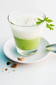 Creamy herb soup with parsley root foam