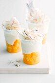 Yoghurt with pina colada on mango compote