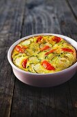 Clafoutis with courgette and tomatoes