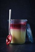 Vanilla pudding with cherry compote