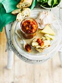Peach chutney with tomatoes and chilli