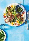 Salmon nicoise with olive vinaigrette