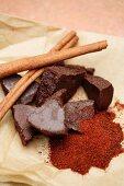 Mexican chocolate and cinnamon sticks
