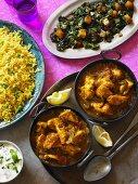 Chicken Balti (chicken curry, India) with spinach and saffron rice