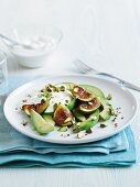 Avocado with figs and plain yoghurt