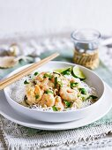 Coconut prawns with lemon grass and rice noodles
