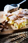 Bougatsa (breakfast pastries made from filo pastry and semolina pudding with cinnamon, Greece)