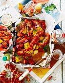 Crayfish with corn cob and potatoes (USA)