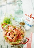 Marinated shrimps with dill