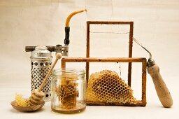 Honeycombs and beekeeper's tools
