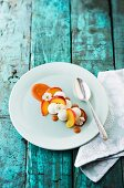 Salty baked nectarines with goats cream cheese