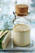 Softening homemade bath milk with dried elderflowers