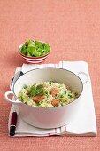 Fennel, Pea and salmon risotto