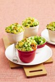 Chunky beef and pea pot pies