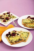 Ricotta spinach tarts with beet salad