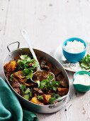 Lamb curry with potatoes and aubergines