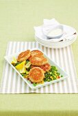 Salmon and noodle patties